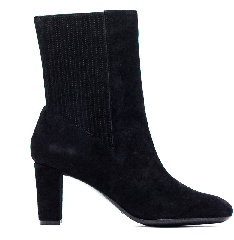 Yieldings Discount Shoes Store's Fifth-Ave Suede Heel Booties by Aerosoles in Black