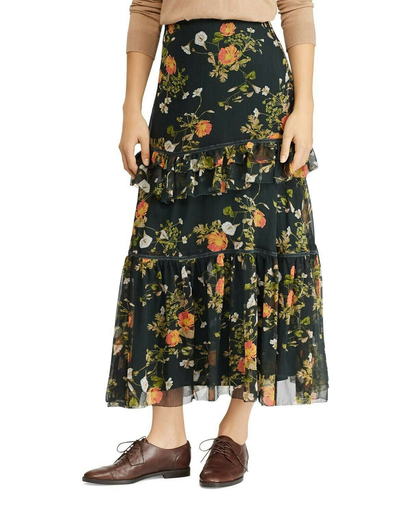 Yieldings Discount Clothing Store's Laucar Floral Print Tiered Peasant Skirt by Lauren by Ralph Lauren in Green