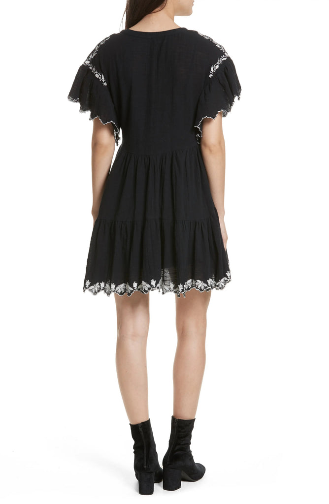 Yieldings Discount Clothing Store's Santiago Baby Doll Dress by Free People in Black