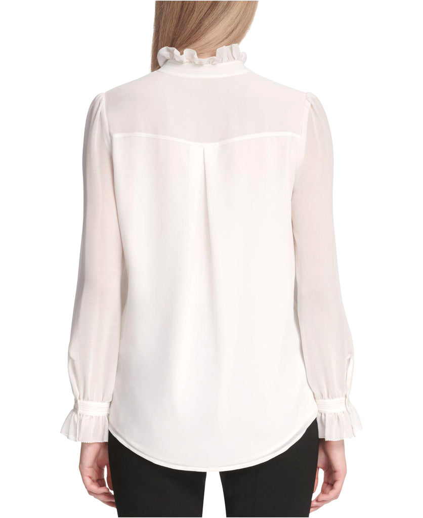 Yieldings Discount Clothing Store's Ruffle-Collar Chiffon-Sleeve Blouse by Calvin Klein in White