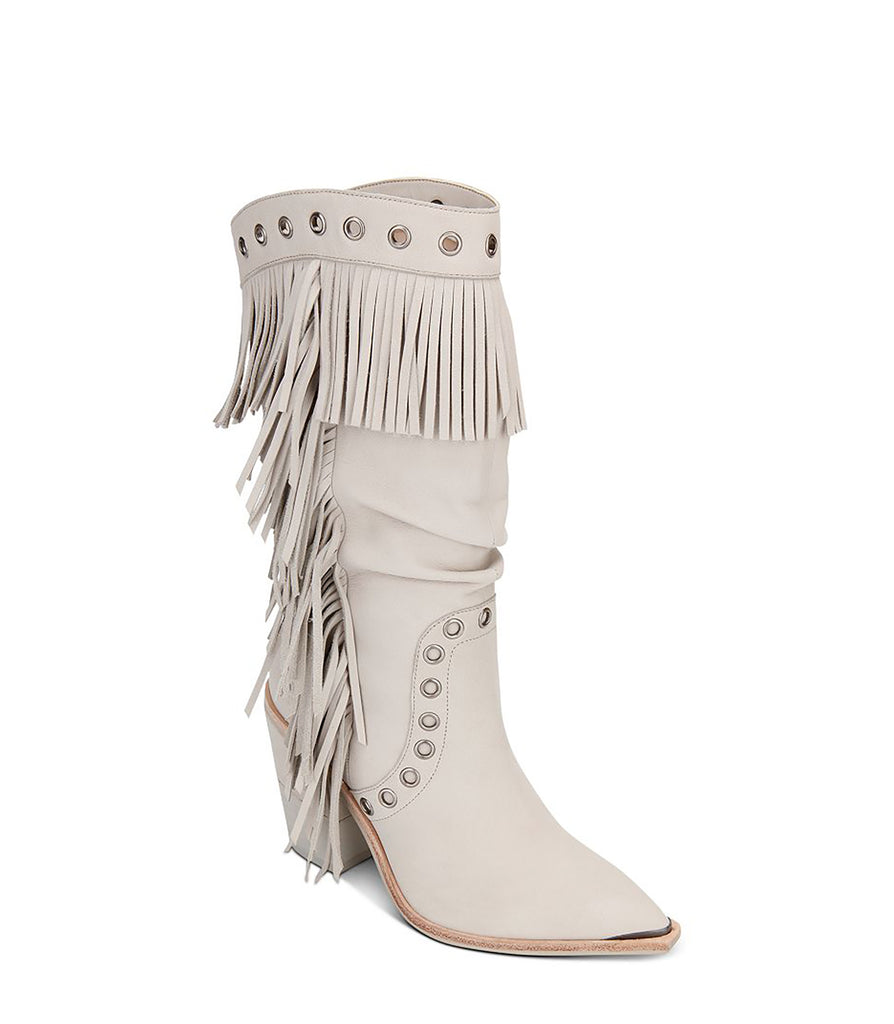 Yieldings Discount Shoes Store's West Side Fringe Boots by Kenneth Cole in Cloud
