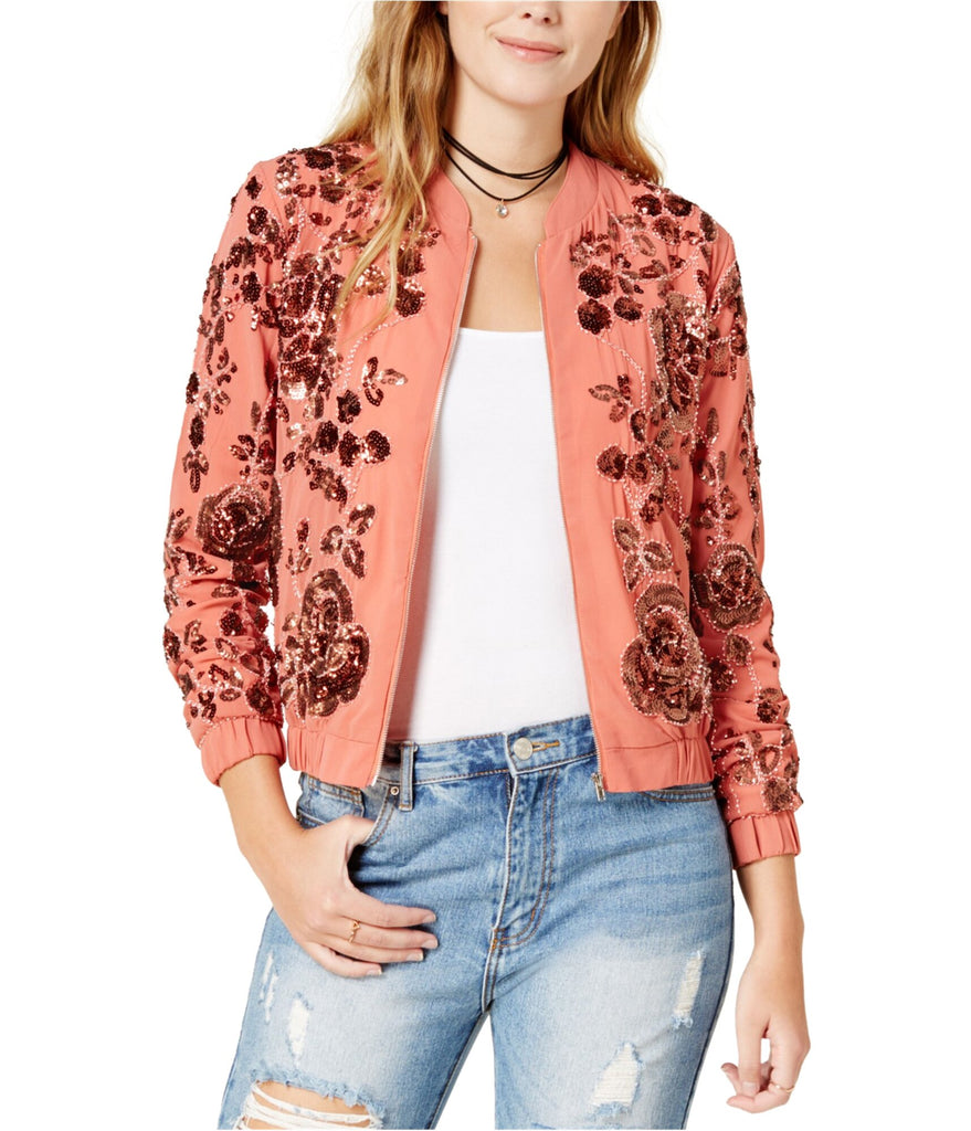Yieldings Discount Clothing Store's Embellished Bomber Jacket by Endless Rose in Pink