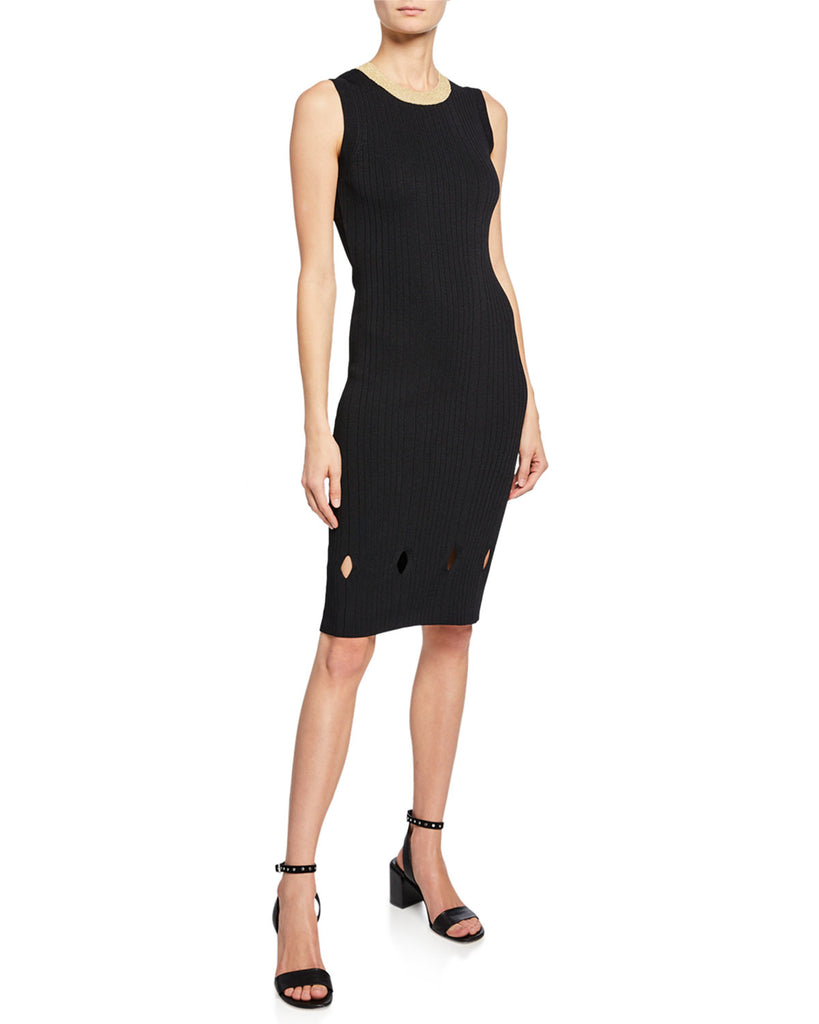 Yieldings Discount Clothing Store's Camilla Ribbed-Knit Dress by RACHEL Rachel Roy in Black Gold