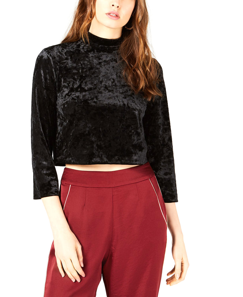 Yieldings Discount Clothing Store's Cropped Mock Neck Top by Leyden in Black Velvet