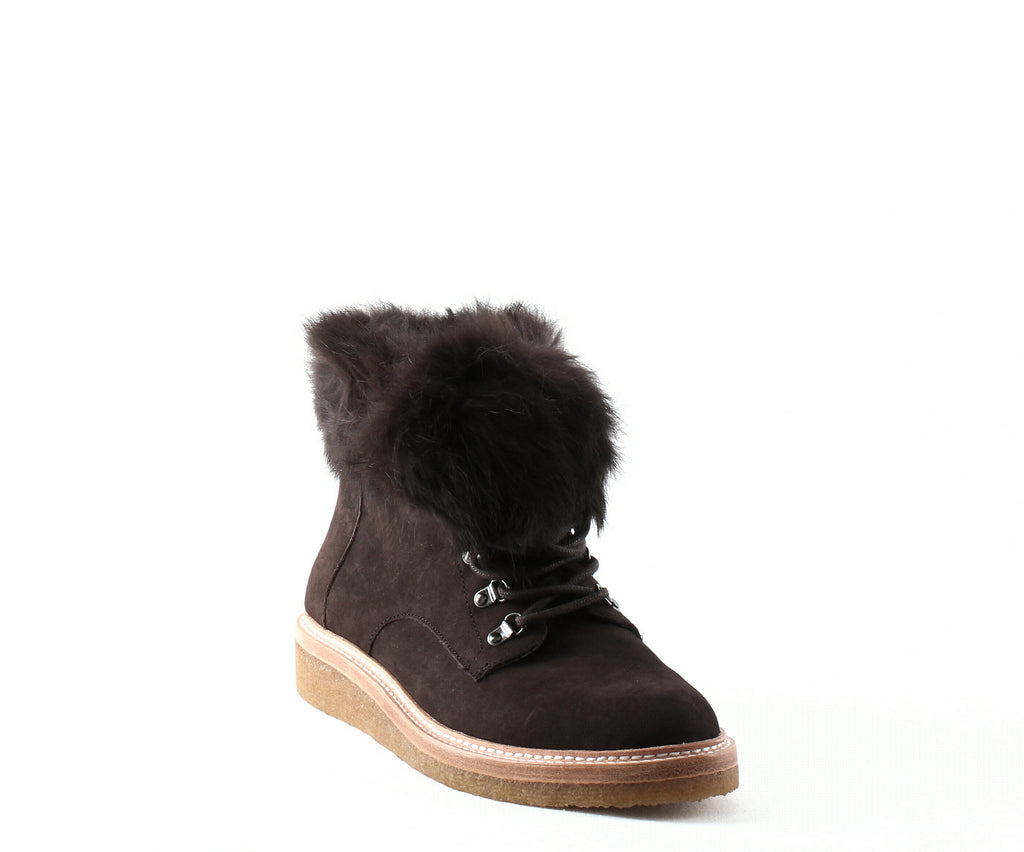 Yieldings Discount Shoes Store's Winter Leather & Fur Lace up Booties by Botkier in Mocha