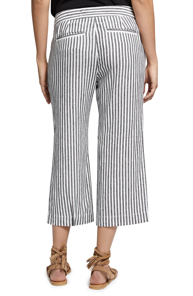 Yieldings Discount Clothing Store's Sasha Linen Striped Cropped Pants by Sanctuary in Tiki Stripe