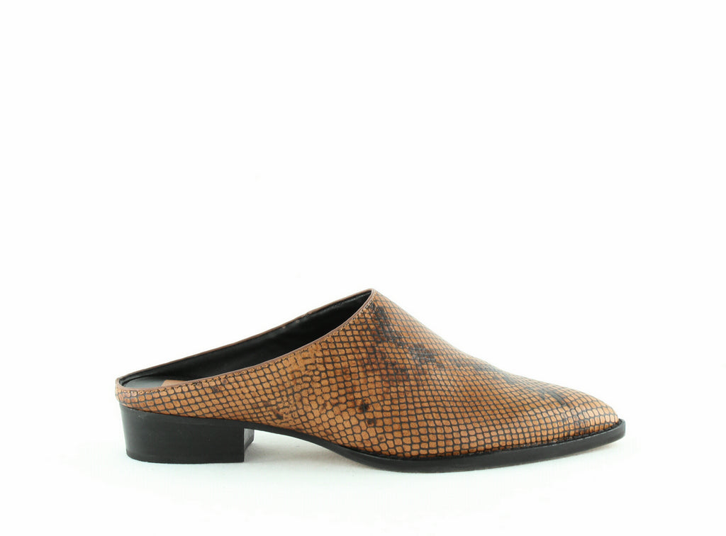 Yieldings Discount Shoes Store's Aven Mules by Dolce Vita in Brown Snake