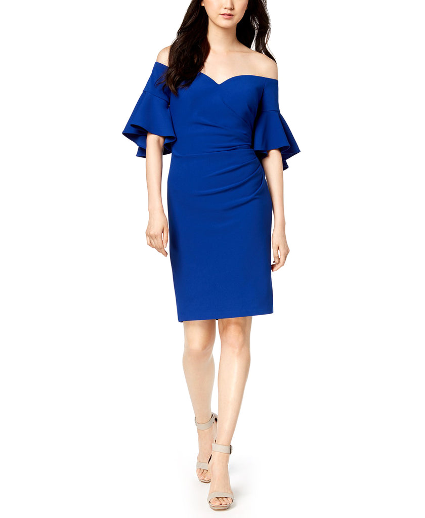 Yieldings Discount Clothing Store's Ruched Off-The-Shoulder Dress by Calvin Klein in Blue