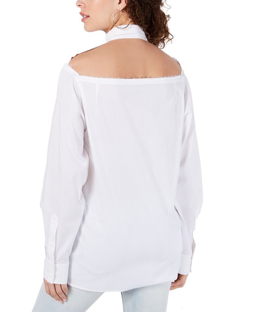 Yieldings Discount Clothing Store's Cotton Cutout-Back Shirt by Kendall + Kylie in White