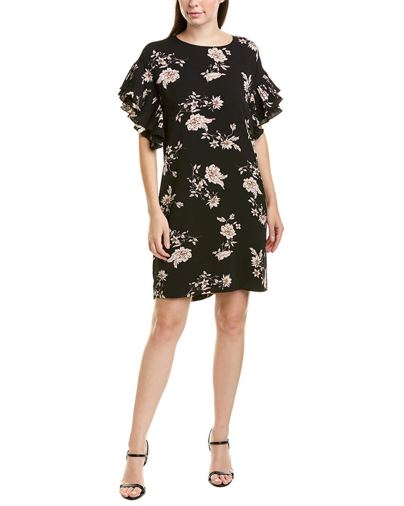 Yieldings Discount Clothing Store's Etched Floral Shift Dress by CeCe in Rich Black
