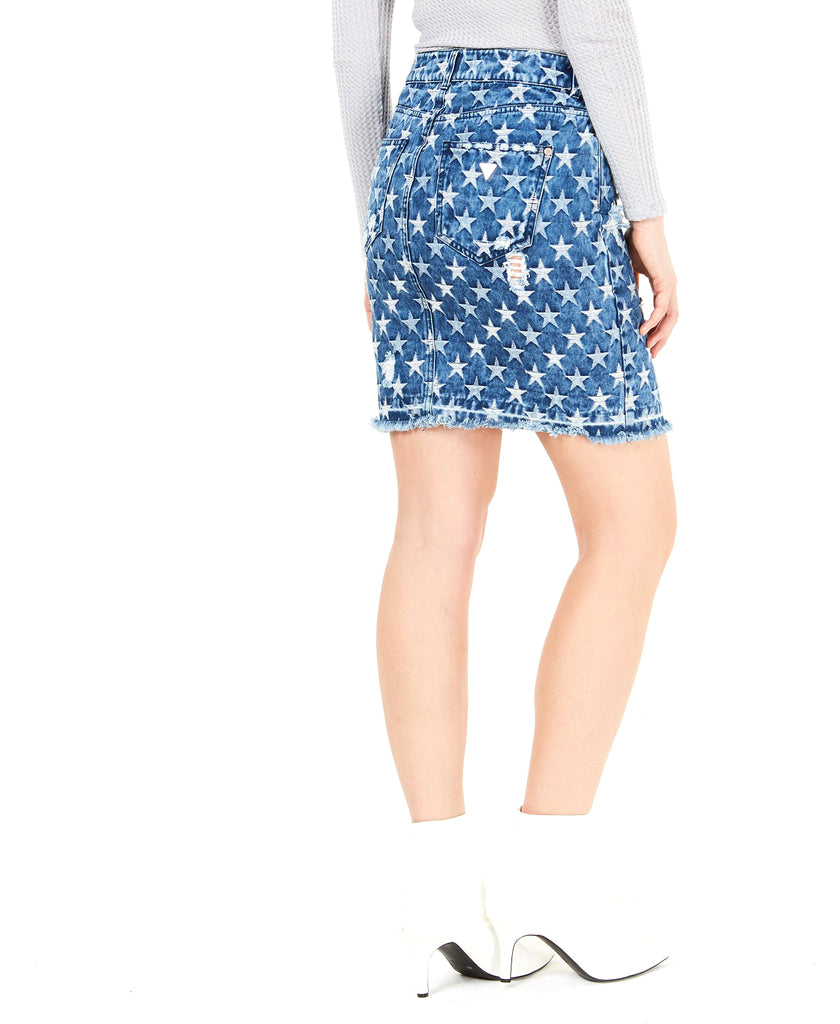 Yieldings Discount Clothing Store's Cleo Ripped Printed Denim Skirt by Guess in Starry Indigo