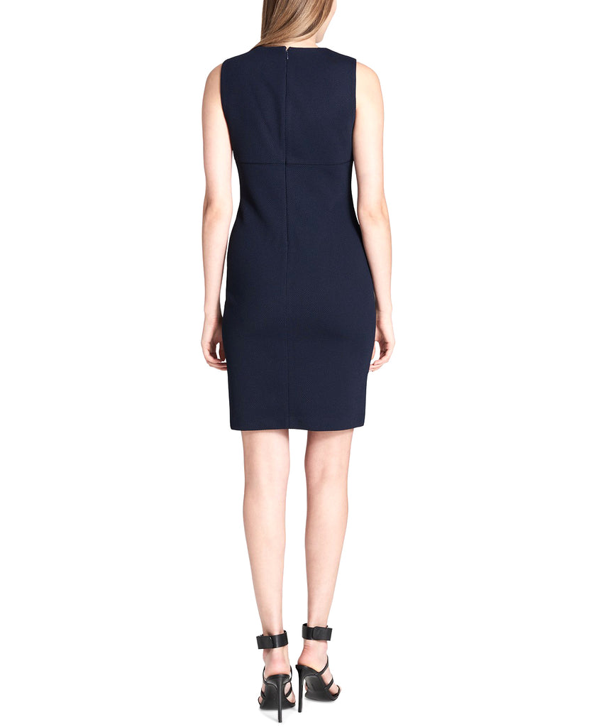 Yieldings Discount Clothing Store's Zipper-Trim Sheath Dress by Calvin Klein in Twilight