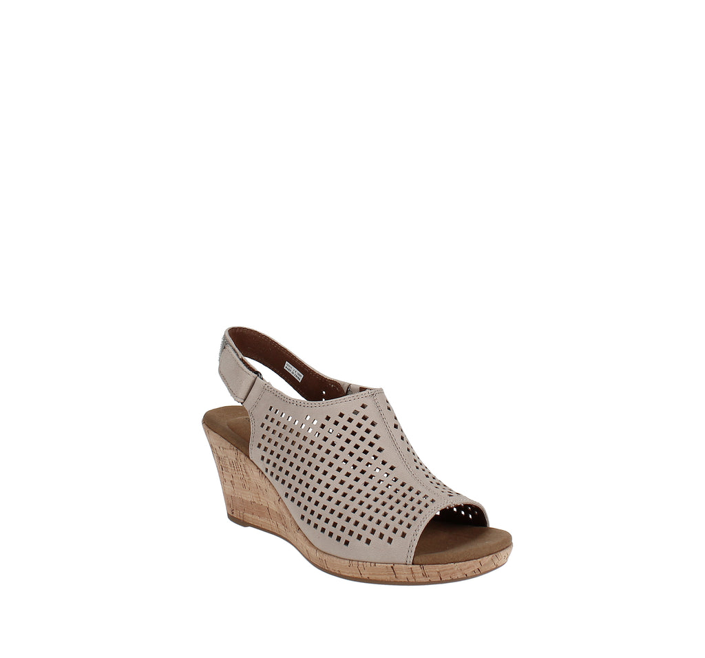 Yieldings Discount Shoes Store's Briah Perforated Slingback Wedges by Rockport in Tan