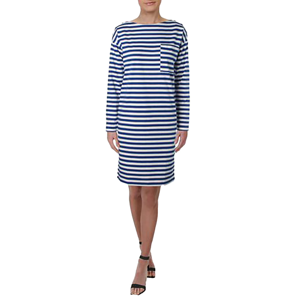 Yieldings Discount Clothing Store's Sharine Cotton Boat Neck Shift Dress by Lauren by Ralph Lauren in Blue