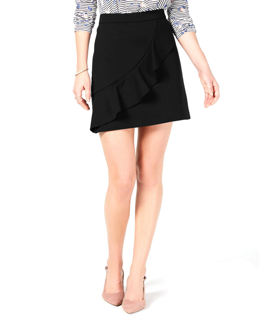 Yieldings Discount Clothing Store's Ruffled Mini Skirt by Maison Jules in Deep Black