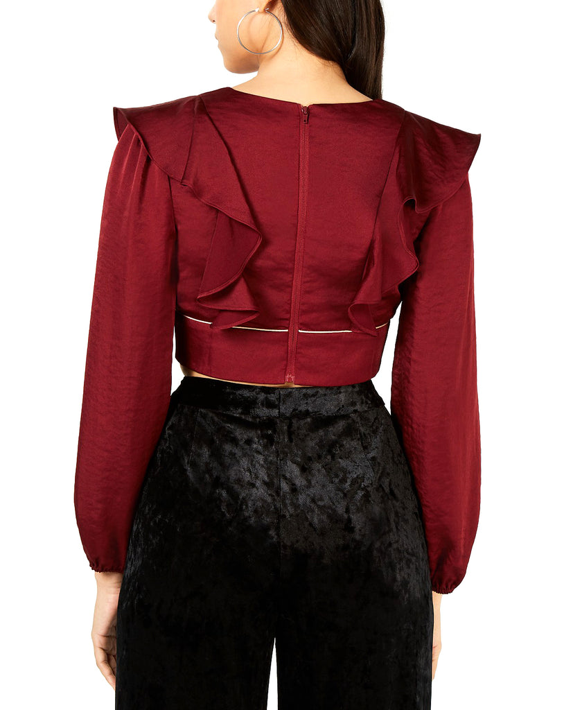 Yieldings Discount Clothing Store's Plunging Ruffled Crop Top by Leyden in Burgundy