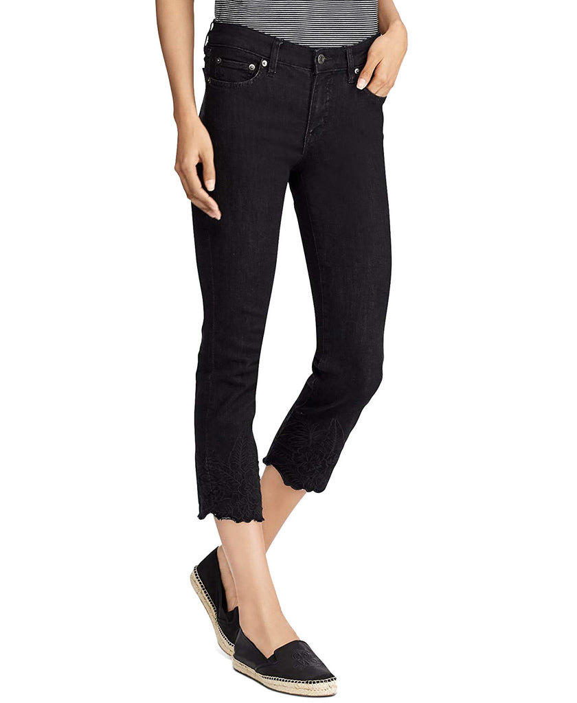 Ralph Lauren | Embroidered Mid Rise Skinny Jeans