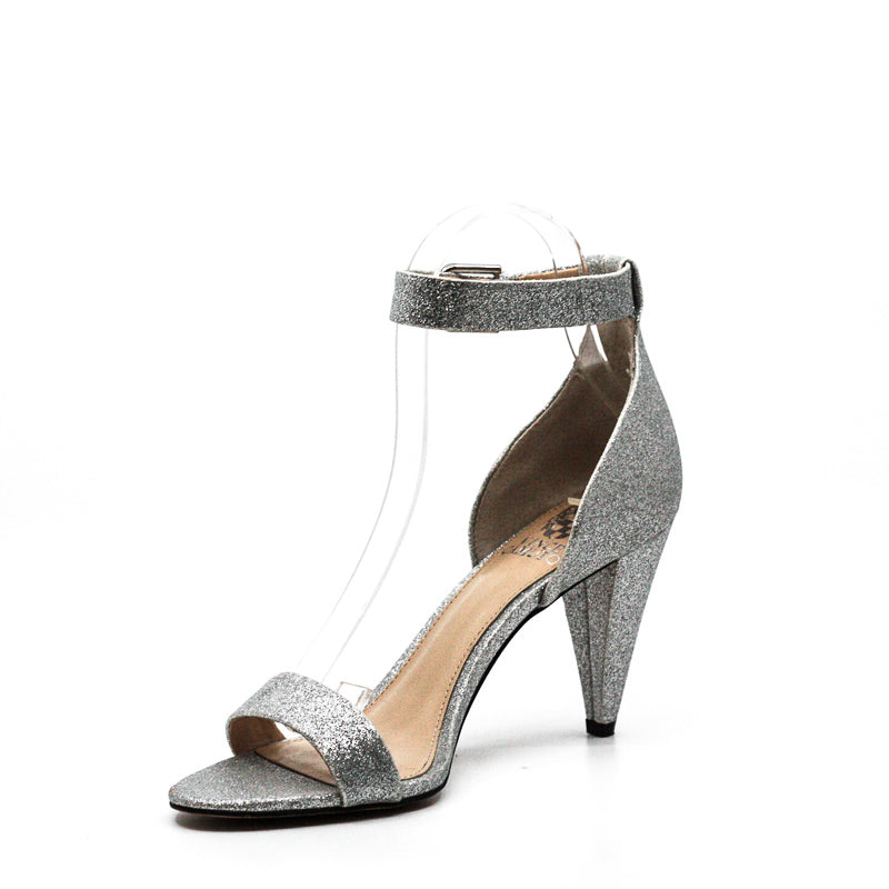 Yieldings Discount Shoes Store's Cashane Heel Sandals by Vince Camuto in Silver Glitter