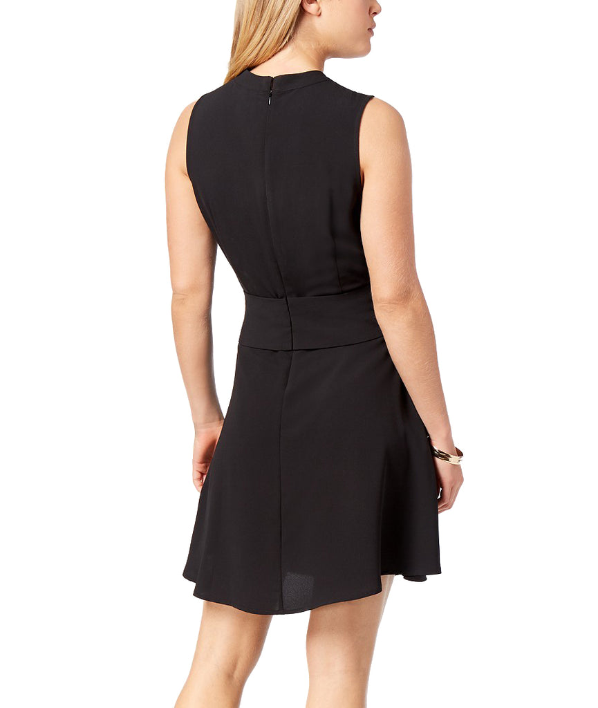 Yieldings Discount Clothing Store's Brussels Mock-Neck Lace-Up-Waist Dress by Bar III in Black