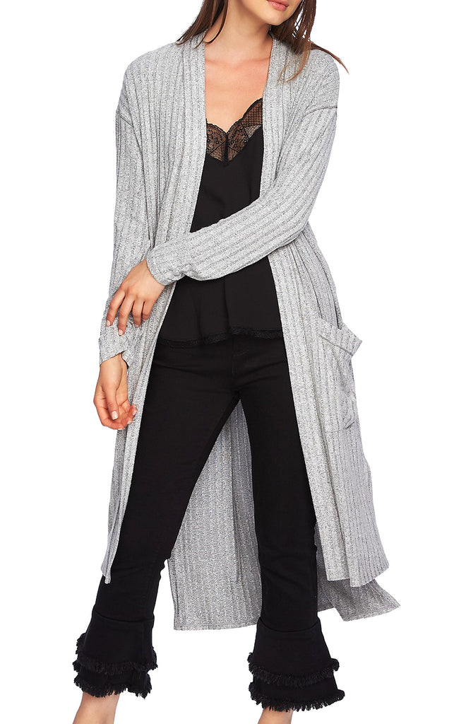 Yieldings Discount Clothing Store's Ribbed Duster Cardigan by 1.State in Light Heather Grey