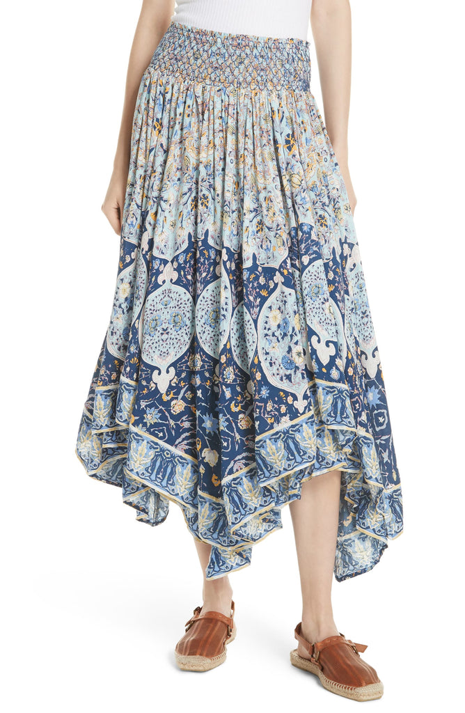 Yieldings Discount Clothing Store's Roaming Wild Midi Skirt by Free People in Indigo Blue