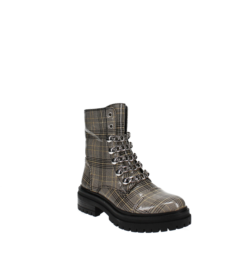 Yieldings Discount Shoes Store's Gili Combat Boots by Circus by Sam Edelman in Yellow/Grey Plaid