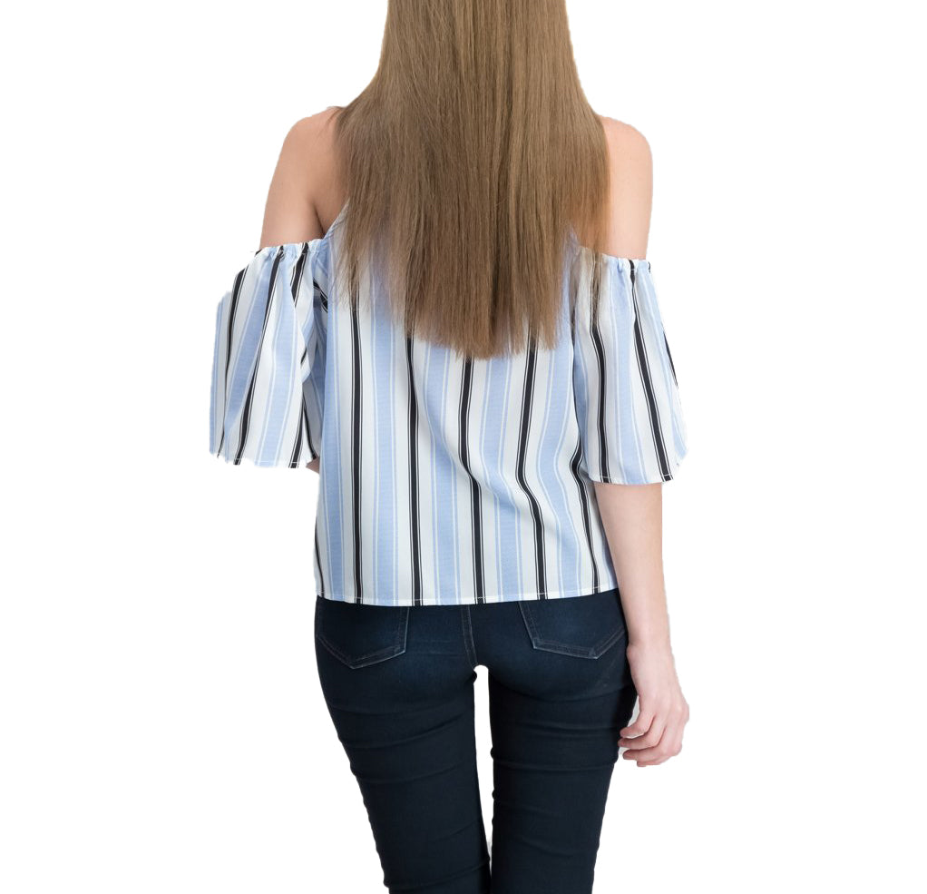 Yieldings Discount Clothing Store's Crave Fame Striped Cold Shoulder Top by Almost Famous in Blue/White