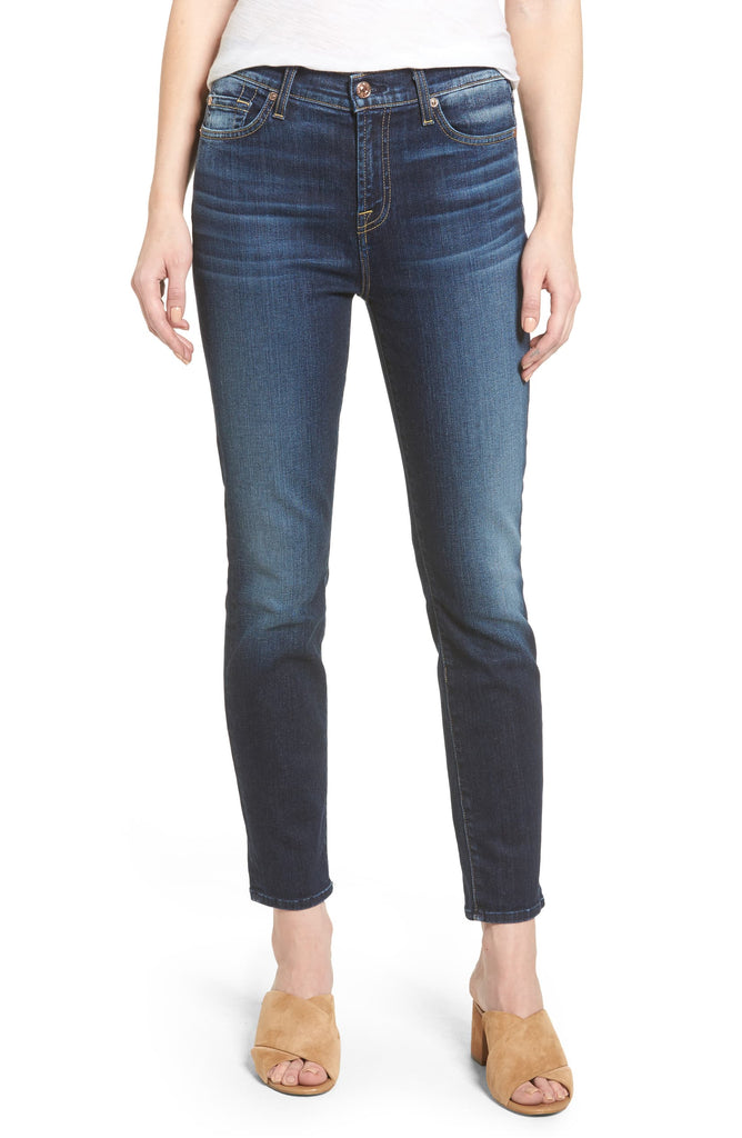 Yieldings Discount Clothing Store's Roxanne Skinny Fit Jeans Aggressive Madison Avenue by 7 For All Mankind in Dark Blue