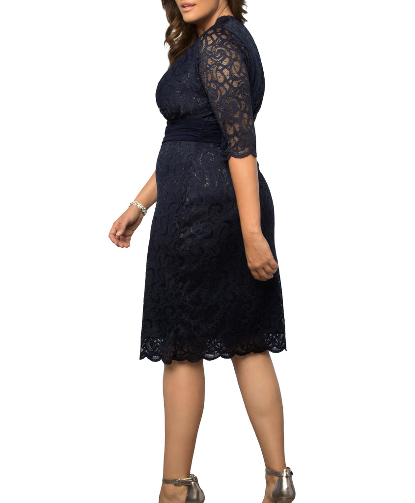Yieldings Discount Clothing Store's Lumiere Lace Dress by Kiyonna in Navy