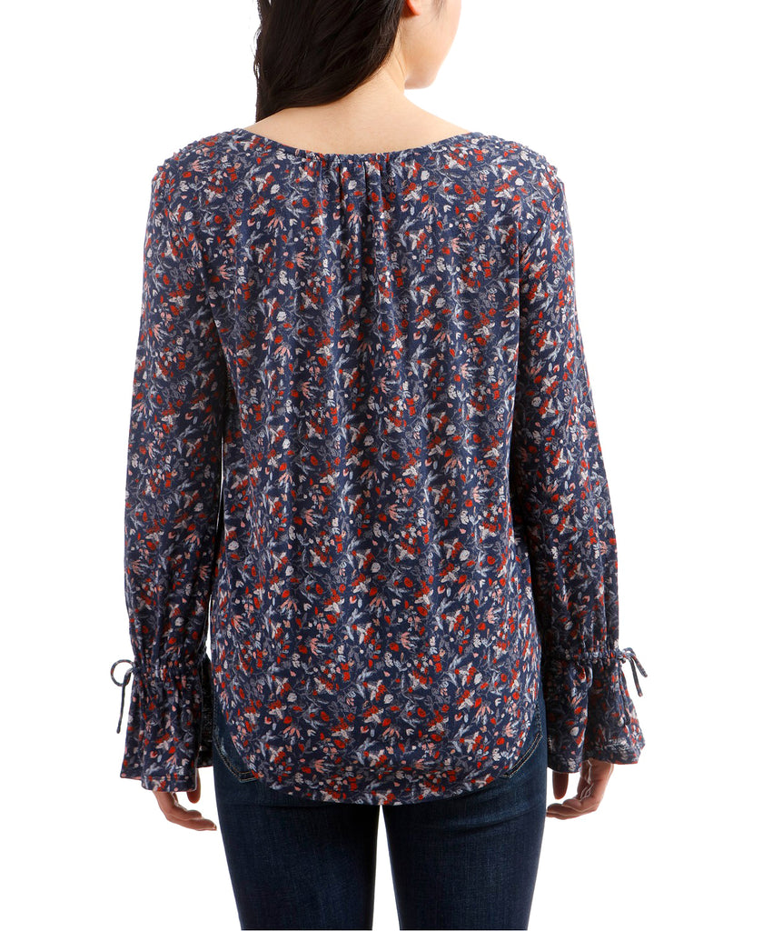Yieldings Discount Clothing Store's Printed Bell Sleeve V-Neck Top by Lucky Brand in Navy