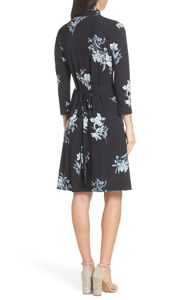 Yieldings Discount Clothing Store's Floral-Print V-Neck Dress by French Connection in Black/Blue