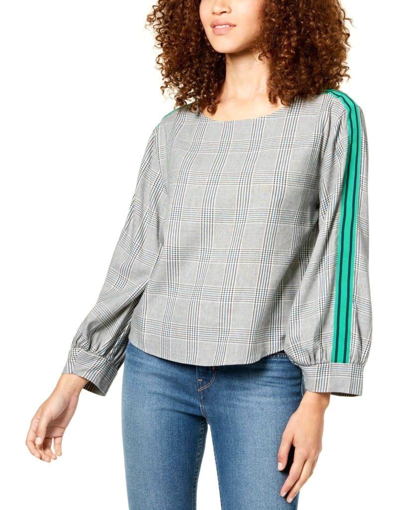 Yieldings Discount Clothing Store's Striped/Plaid Sleeve Top by Seven Sisters in Glen Green