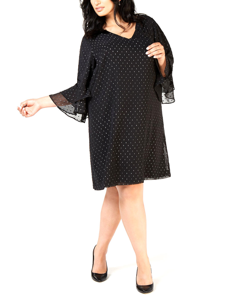 Yieldings Discount Clothing Store's Plus Size Textured Metallic Shift Dress by Jessica Howard in Black