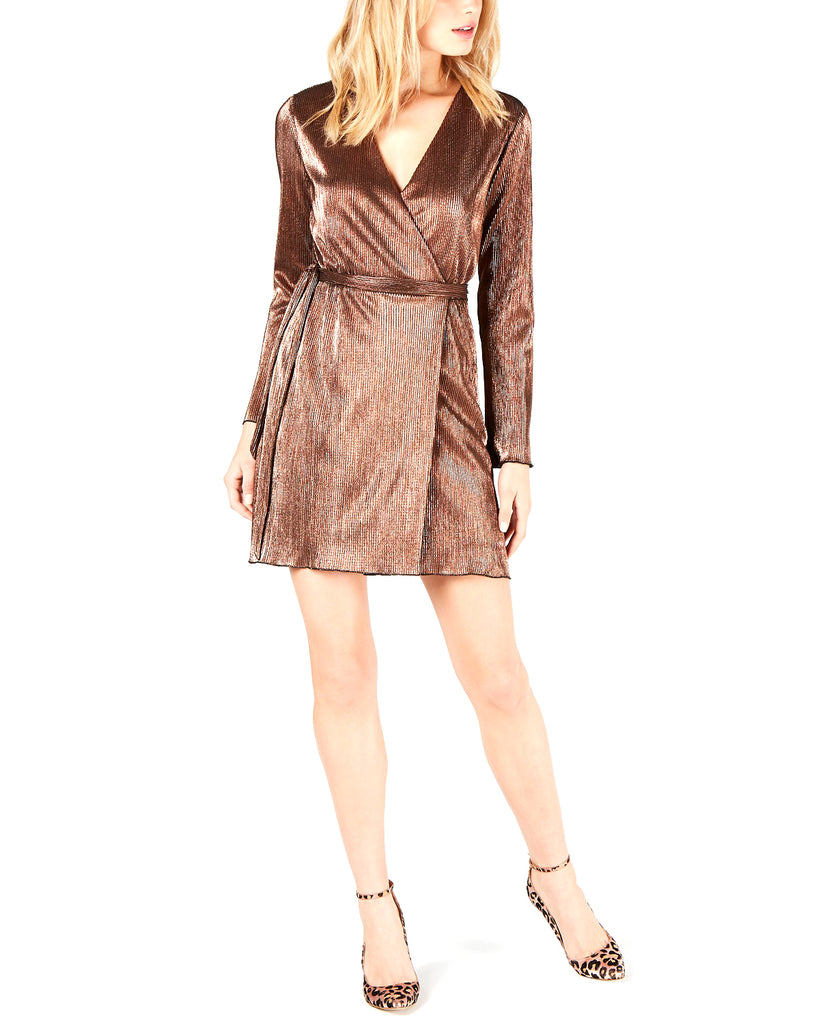 Yieldings Discount Clothing Store's Mini Wrap Dress by Leyden in Bronze