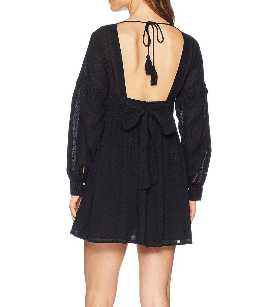 Yieldings Discount Clothing Store's Sugarpie Lacey Mini Dress by Free People in Black