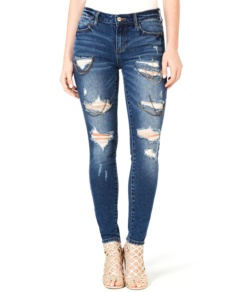 Yieldings Discount Clothing Store's Ripped Chain-Trim Jeans by Guess in Lennon Wash