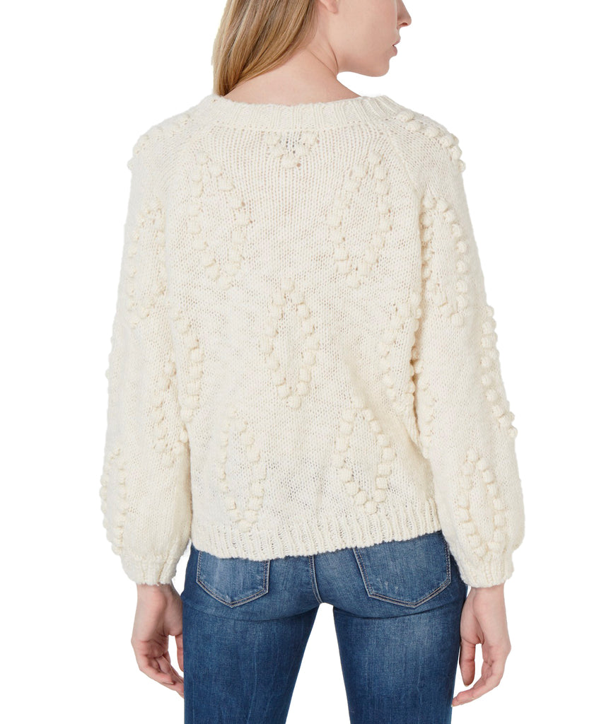 Yieldings Discount Clothing Store's Bobble Diamond Cardigan by Lucky Brand in Cream