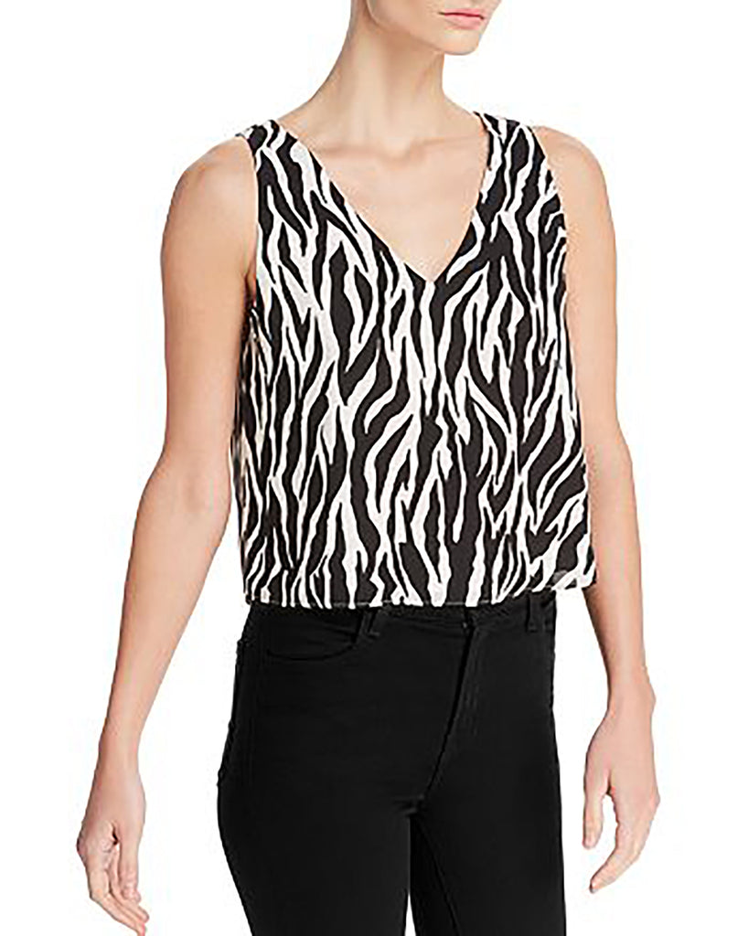Yieldings Discount Clothing Store's Lined Cropped Tank Top by Aqua in White Zebra Print