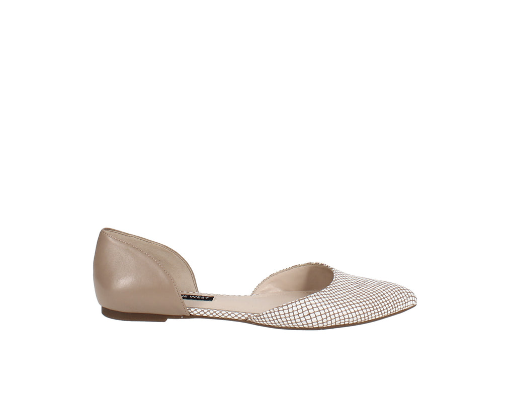 Yieldings Discount Shoes Store's Starship Two-Piece Flats by Nine West in Nude/Lizard Multi