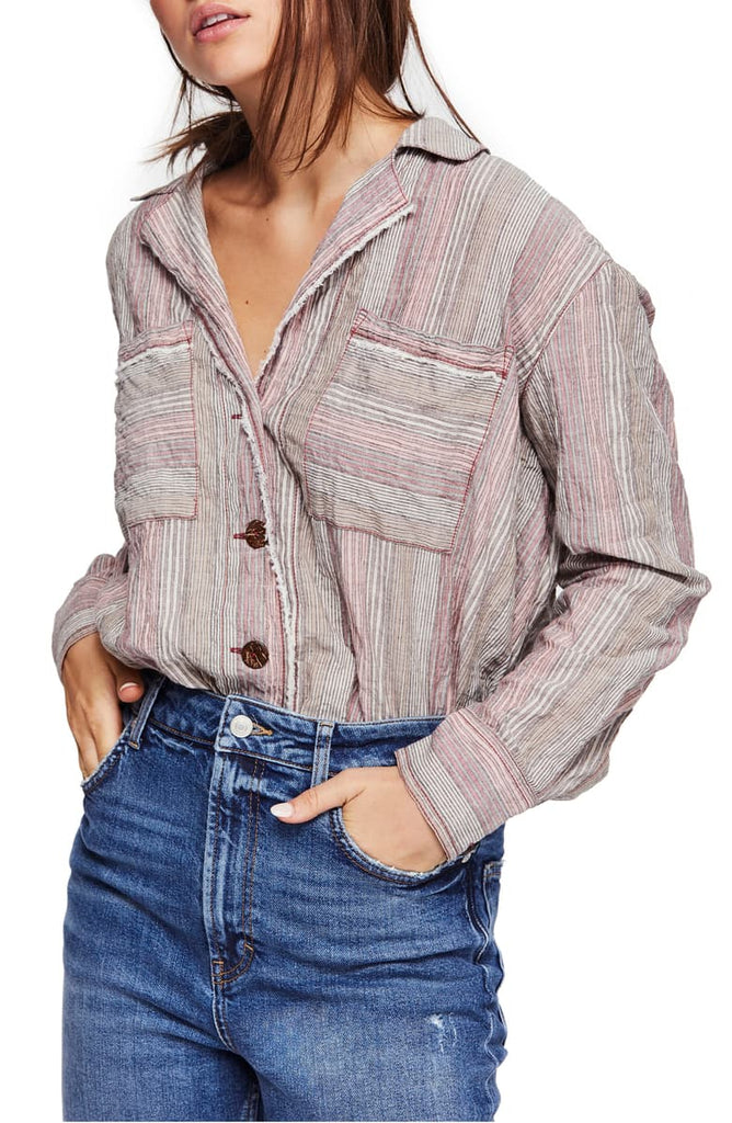 Yieldings Discount Clothing Store's High Tide Striped Shirt by Free People in Pink Sands