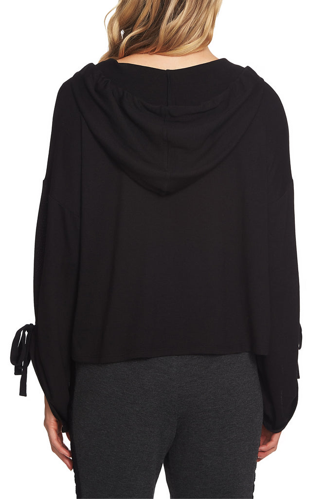 Yieldings Discount Clothing Store's Cozy Crop Drawstring Hoodie by 1.State in Rich Black