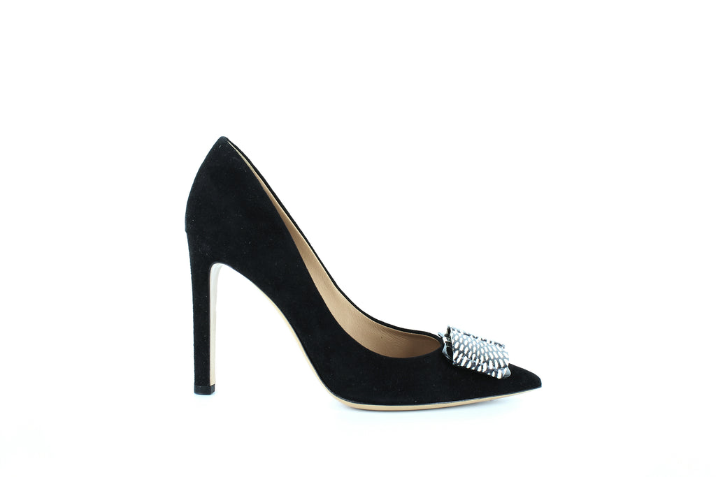 Yieldings Discount Shoes Store's Mimi Suede Pumps by Salvatore Ferragamo in Nero