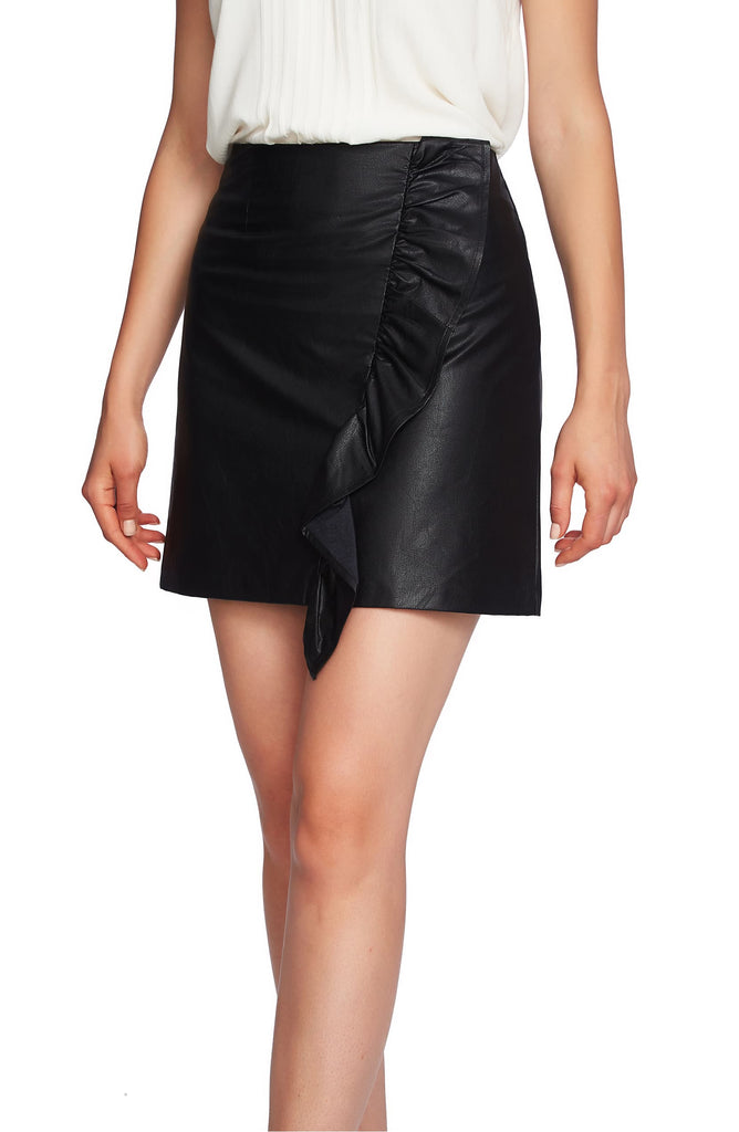 1.State | Boy Meets Girl Ruffled Faux Leather Mini Skirt