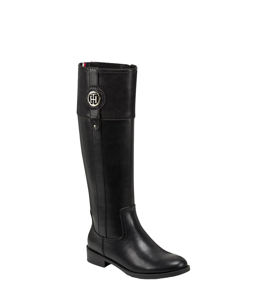 Yieldings Discount Shoes Store's Imina Knee High Riding Boots by Tommy Hilfiger in Black