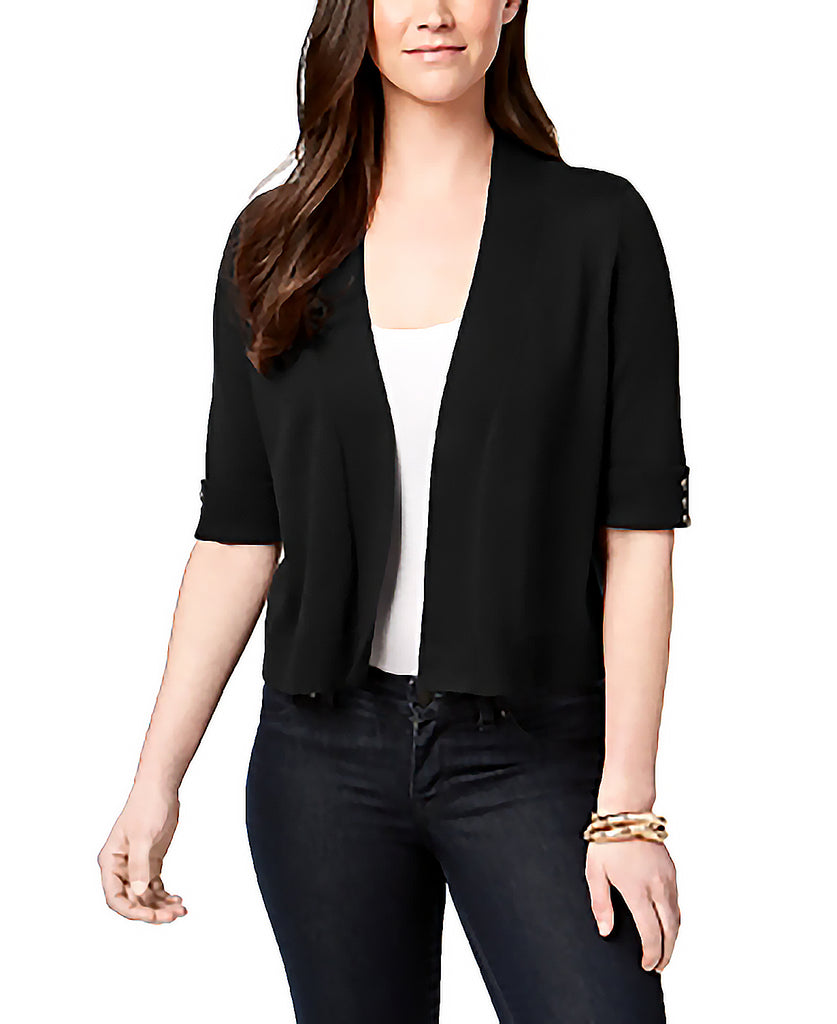 Yieldings Discount Clothing Store's Cropped Button-Detail Cardigan by JM Collection in Deep Black