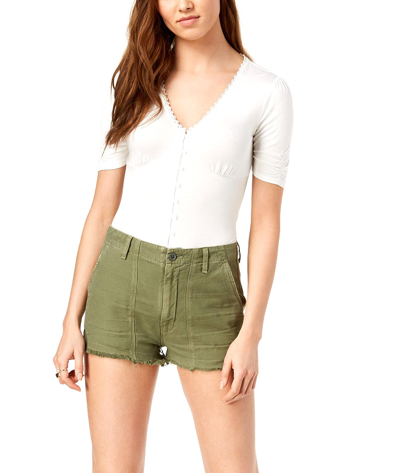 Yieldings Discount Clothing Store's Meghan Frayed Cotton Shorts by Citizens Of Humanity in Combat Green