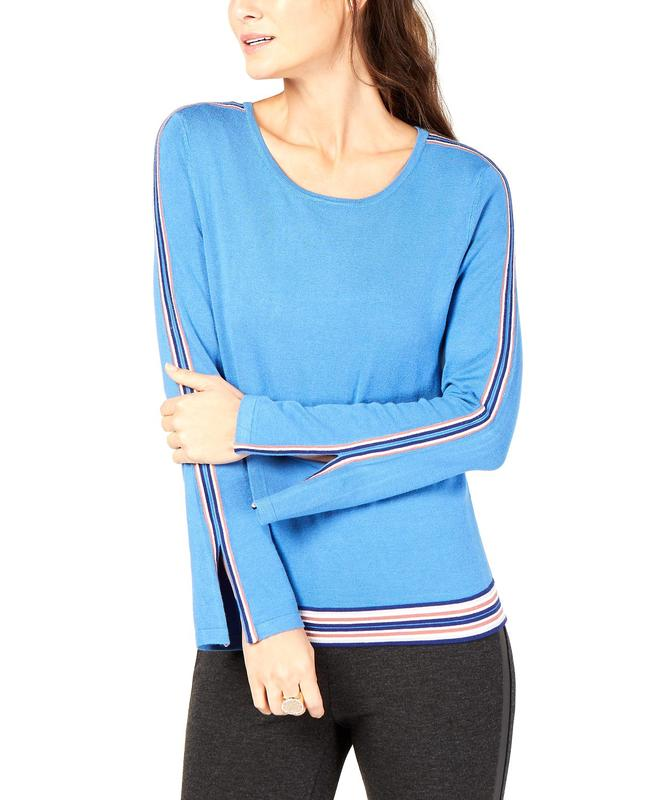 Yieldings Discount Clothing Store's Varsity Stripe Sweater by Alfani in Glazed Cobalt