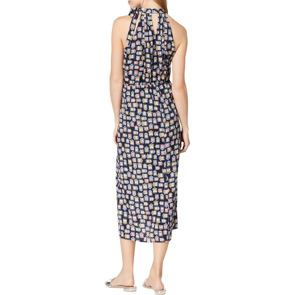 Yieldings Discount Clothing Store's Printed Tie-Neck Halter Dress by Maison Jules in Blu Notte Combo