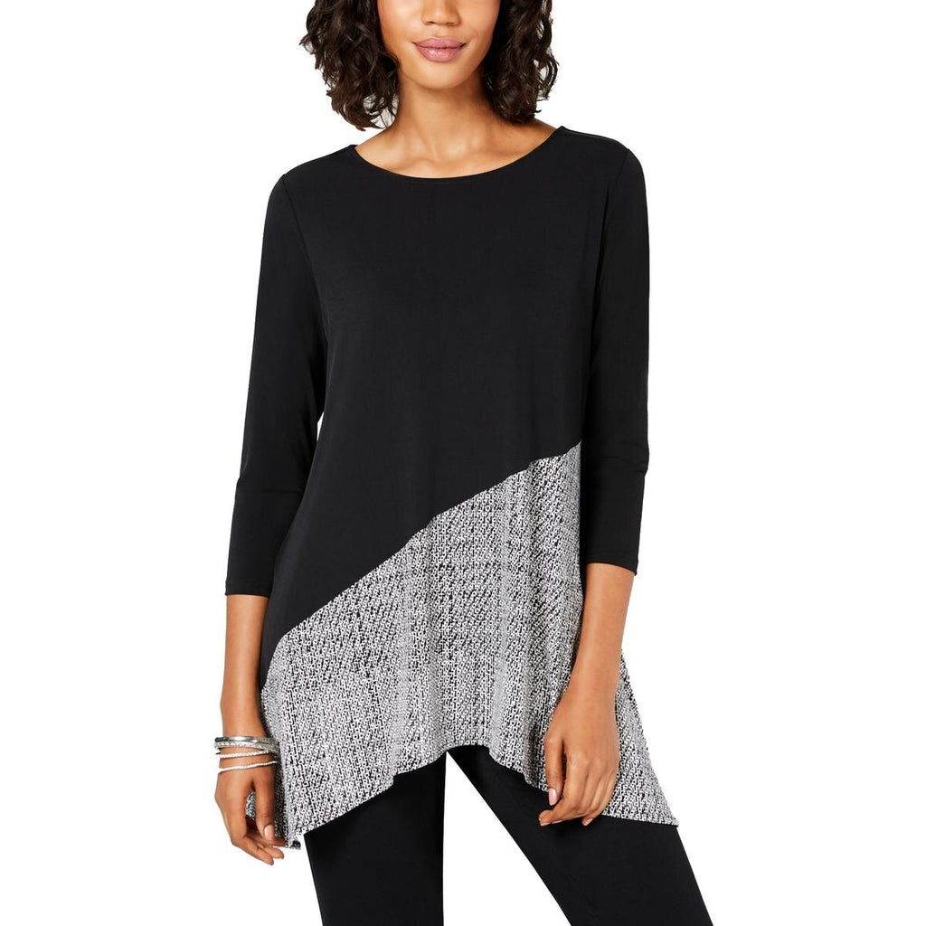 Yieldings Discount Clothing Store's Printed Swing Top by Alfani in Black Texture Splice