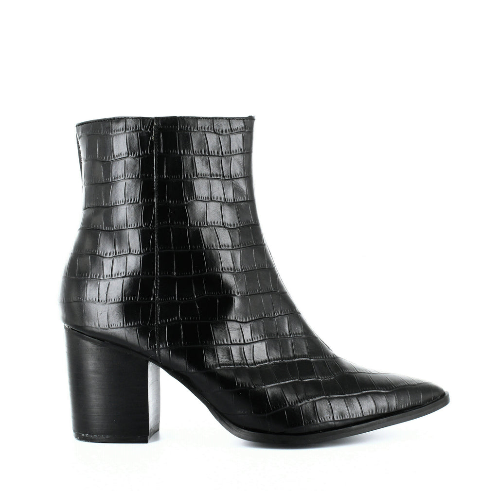 Yieldings Discount Shoes Store's Grounded Croc-Embossed Leather Booties by Jaggar in Black